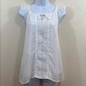 ELLE Sleeveless Lace Embellished Lined Shirt  Sz M